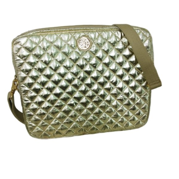 Tory Burch Handbags - Tory Burch Gold Quilted Laptop Bag